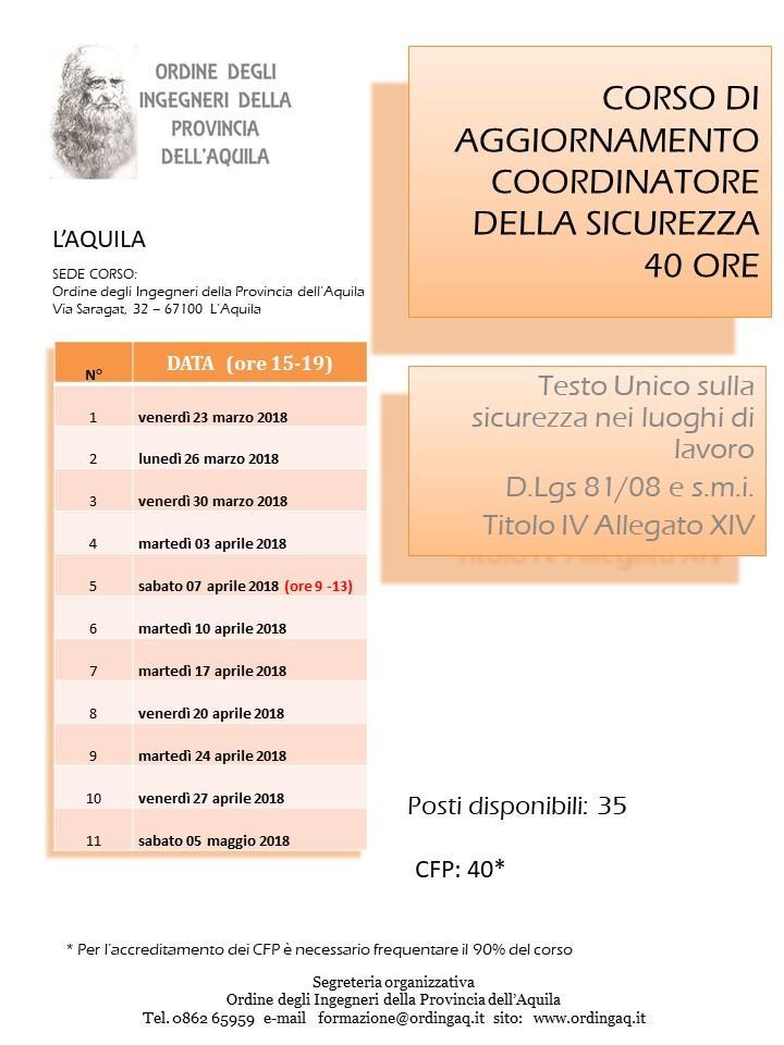 AGGIORNAMENTO COORDINATORE SICUREZZA (40 ORE)